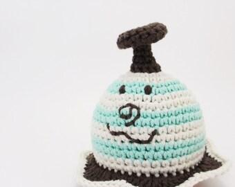 UFO baby rattle - organic cotton crochet toy - mint, ecru, brown and orange