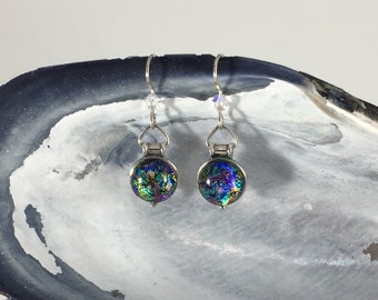 Sterling Earrings: Opal Colored Dichroic Fused Glass