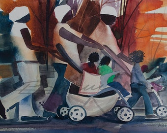 Family Walk  Watercolor Print, African American Painting, Contemporary Art, Abstract Painting, Art for Office, Black Art,Art for Sale