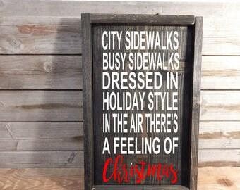 City Sidewalks..Solid Wood Christmas Sign