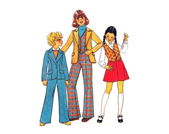 Girls Retro Jacket, Vest, Bell Bottom Pants, Skirt Pattern Simplicity 7606 Blazer, Waistcoat, Trousers Size 10 Vintage Sewing Pattern UNCUT