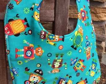 NEWBORN / INFANT Bib: Tossed Robots on Green, Personalization Available