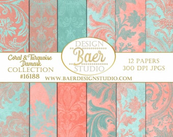50% off:WEDDING DIGITAL PAPER- Turquoise and Coral Digital Paper, Shabby Chic Digital Paper, Coral and Teal Damask Digital Paper, #16188