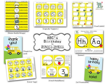 SCHOOL BUS Collection - ABC Birthday Party, Retirement or Classroom Decor - Customized - Diy Printable Coordinating Design Accessories