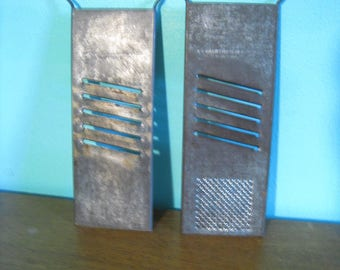Set of 2 vintage Bluffton Slaw Cutter Rapid Slaw and Vegetable Cutter graters. Vintage kitchenalia primitive advertising collectible.