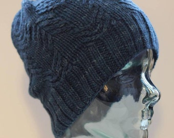 Adult mini cable design beanie toque slouch merino (semi-solid denim blue)