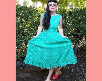vintage Victor Costa aqua polka dot dress