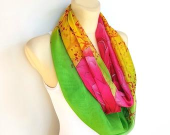 Bohemian Silk Scarf Green Yellow Scarf Women Silk Infinity Scarves for Women Silk Loop Scarves 005i Women Gift for Mother Summer Outdoor
