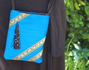 Turquoise Silk Evening Bag