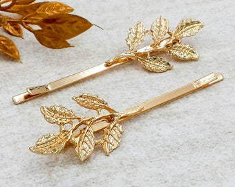 Gold Leaf Branch Bobby Pins, Gold Leaf Hair Pin, Leaves Hair Clips, Forest Woodland Garden Romantic Wedding Bridal Bridesmaid Gift for Her