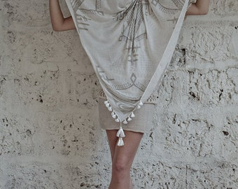 Tribal Scarf Square Fashion Scarf, Summer Scarves, Spring Scarf, Off white, Beige, Soft and Lightweight, Gifts For Her