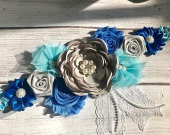 Blue, Gray and  Turquoise Maternity Blue Baby Boy Pregnancy Sash Gender Reveal Party Gift Photo Prop Gift Baby Shower
