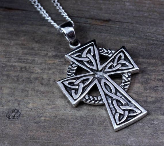 Mens celtic cross necklace sterling silver mens irish cross like this item mozeypictures Choice Image