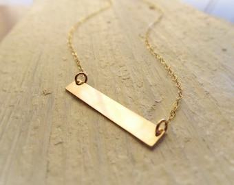 Gold Bar Necklace, 14kt Gold Filled, Station Necklace, Gold Bar Pendant, Minimal Jewelry, Plain Bar Layering Necklace, Layered Jewelry