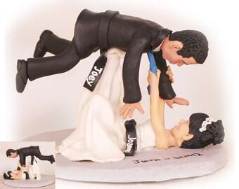 Personalised wedding cake topper - Bride Throwing Groom Over Her Head Jiu Jitsu Wedding Cake Toppers  (Free shipping)