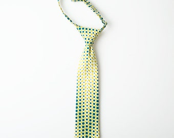 Little Boy Tie - Green with Blue Dots - Toddler Tie