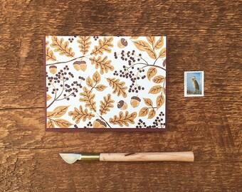 Golden Oak Leaves and Acorns, Fall Leaves, Letterpress Folded Note Card, Blank Inside