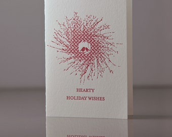 Hearty Holiday Wishes Cards - Wreath Holiday Cards - Red Robins in a Wreath - Hearty Wreath Card - Holiday Pack of 6 - Letterpress Cards
