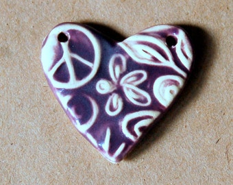 Sweet Ceramic Bead with Heart Peace Sign and Flowers in Rich Purple - 2 holed connector bead for a Pendant