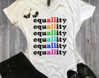 Equality Equal Rights Gifts Gay Pride LGBT Shirts | Feminist Gifts Girl Power Gifts Women's V-Neck Shirt
