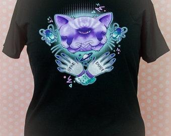 Janus Two Faced Cat Graphic T Shirt Pastel Goth Creepy Cute