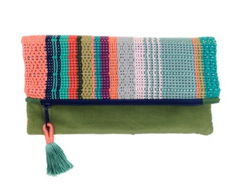 Talia   Handwoven Colorful Boho Chic Clutch   Striped Woven Foldover Purse   Coral and Mint Modern Bag   Modern Patterned Woven Evening Bag