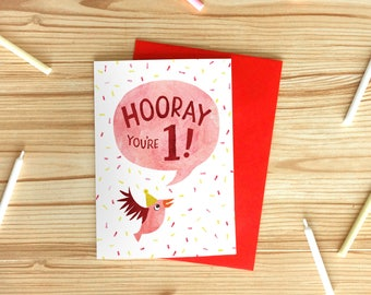 Hooray You're 1 Greetings Card, Children's Illustrated Birthday Card, Bird One Year Old Card