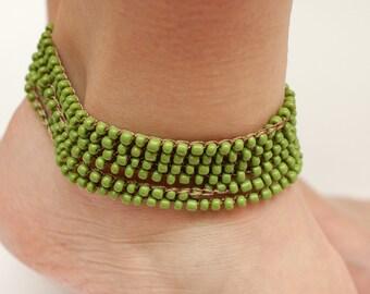 Crochet Wrap anklet Beaded jewelry Beaded ankle bracelet women gift wife olive anklet Boho anklet Boho jewelry Gypsy anklet Crochet anklet