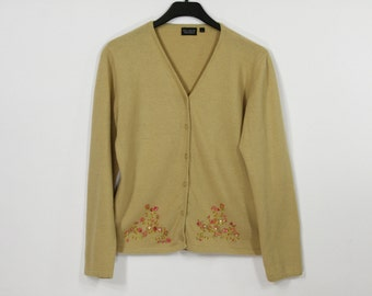 Caramel Brown Angora Blend Cardigan Beige Embroidered Pink Flowers Button Up Sweater