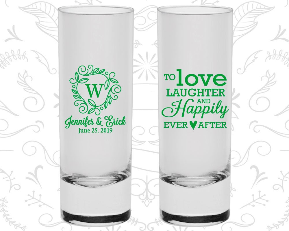 Shooter Glasses Love Laughter Happily Ever After Wedding