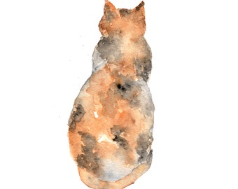 Watercolor cat painting, watercolor painting, cat art, cat silhouette, animal art, watercolor animals, abstract cat, cat print