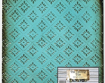 Salvaged, by BCI Crafts Tin Ceiling Tile, Bright Blue Rosette