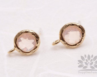 E200-G-PH// Gold Plated Peach Round Glass Post Earring, 2 pcs