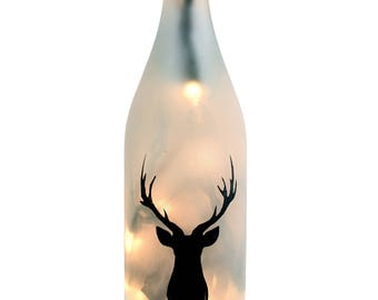 Stag Silhouette Lighted Wine Bottle - Wine Bottle Lamp, Wine Gift, Wine Decor, Housewarming, Fall Decor, Deer, Sportsman, Fall Decor,