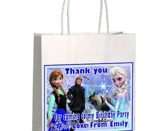 Frozen Birthday  Party Bags Personalised Any Name  Loot Bags & Elsa Anna Olaf