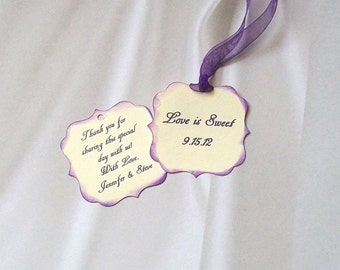 Wedding Favor or Treat Tags - Scalloped, Double Sided, Distressed and Personalized (25)