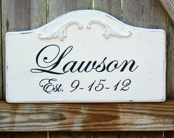 Handmade Custom Wood Signs. LESS than 20 Characters. Personalized to include Family Name, Last Name, Wedding Date, Home Address.