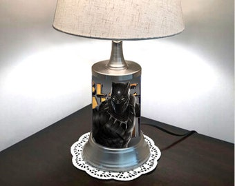 Black Panther Lamp with chrome shade, Marvel, Movie