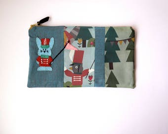 "Zipper Pouch, 9.25 x5.5"" in  teal, green, marron and brown marching band print fabric, Handmade Felt Rabbit Embellishment, Bunny Pencil Case"