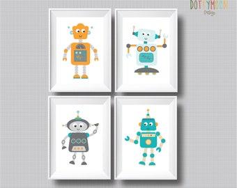 Robot prints x 4, instant digital download, children wall art.