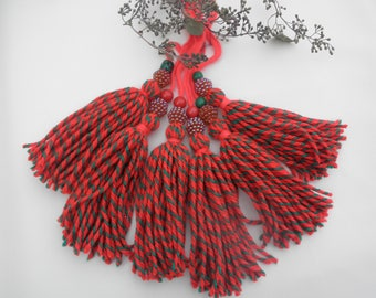 Handmade Christmas tassel, Red and Green with festive beads, great for Christmas decor