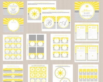 Ray of Sunshine Baby Shower Printables Package, Sunshine Baby Shower Printables Package | Yellow and Gray | Printable Package