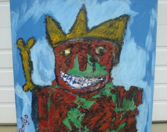 Large Rongo Outsider Art Painting on Wood Paneling HOWDY Mid Century Modern Art Basquiat Style