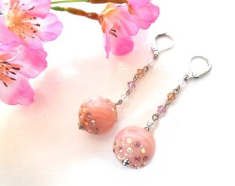 Pink dangle earrings with Swarovski crystals