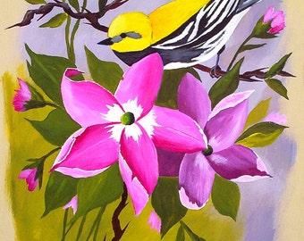 "Original Acrylic Painting Yellow Warbler Bird Art in Magenta Roses Wall Art by Michael Hutton  9 x  12"" Gift, Bird Lover"
