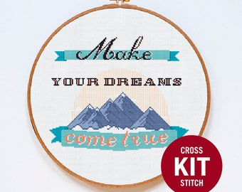 Mountain Cross Stitch Kit, Dreams Cross Stitch Kit, Adventure Modern Cross Stitch Kit, Counted Cross Stitch Pattern Instructions