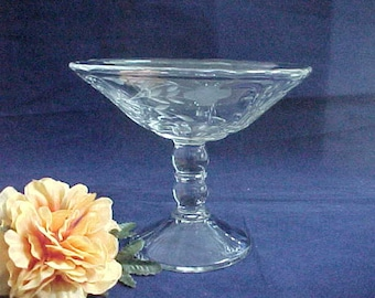 Vintage Imperial Glass Compote With Cutting, Footed Candy Dish With Two Ball Stem # 761, Mid Century Crystal Serving Nut Bowl or Soap Dish