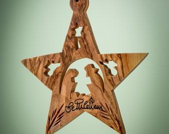B05/Olive wood ornament/ hand carved Christmas tree ornament/Bethlehem/Holy land