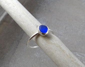 Cobalt Blue Sea Glass Ring in Sterling Silver size 7.25