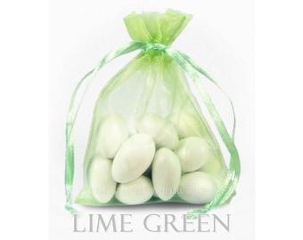 10 Lime Green Organza Bags, 20x21 Inch Sheer Fabric Favor Bags